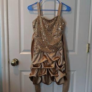 Ruby Rox short gold dress